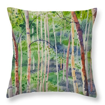 Watercolor - Magical Aspen Forest After A Spring Rain Throw Pillow