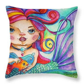 Watercolor Mermaidia Mermaid Painting Throw Pillow by Shelley Overton