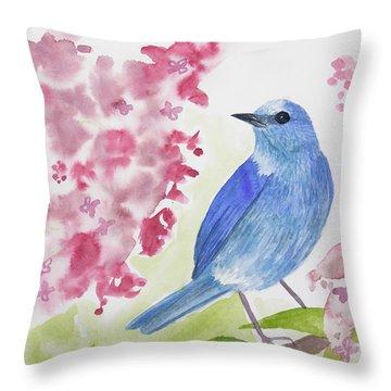 Watercolor - Mountain Bluebird Throw Pillow