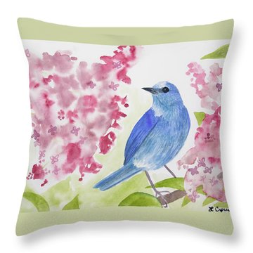 Throw Pillow featuring the painting Watercolor - Mountain Bluebird by Cascade Colors