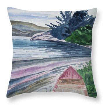 Watercolor - New Zealand Harbor Throw Pillow