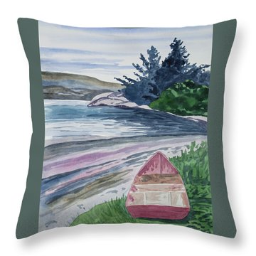 Throw Pillow featuring the painting Watercolor - New Zealand Harbor by Cascade Colors