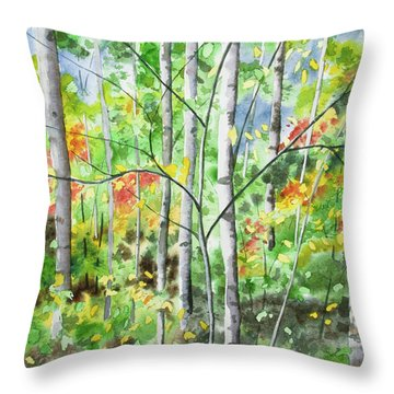 Throw Pillow featuring the painting Watercolor - Northern Forest by Cascade Colors