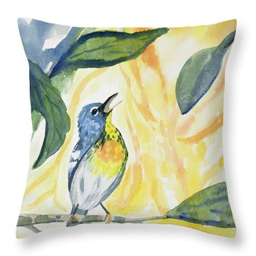 Watercolor - Northern Parula In Song Throw Pillow