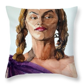 Portrait In Watercolor Of A Brooklyn Queen Throw Pillow
