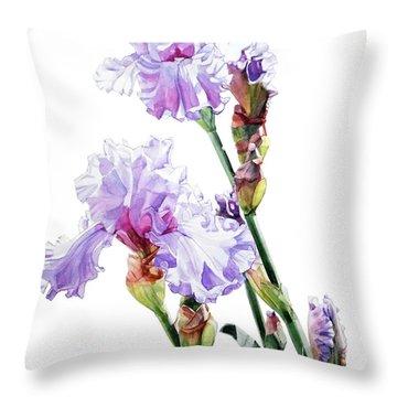 Watercolor Of A Tall Bearded Iris I Call Lilac Iris Wendi Throw Pillow