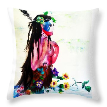 Watercolor Of Chippewa In The Water By Ayasha Loya Throw Pillow