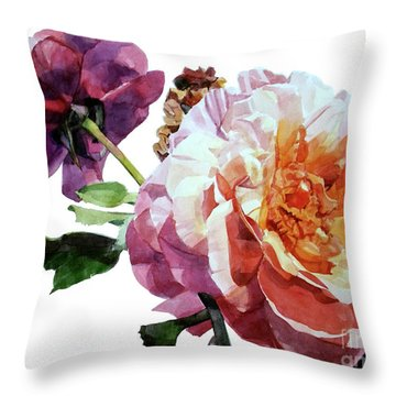 Watercolor Of Two Roses In Pink And Violet On One Stem That  I Dedicate To Jacques Brel Throw Pillow