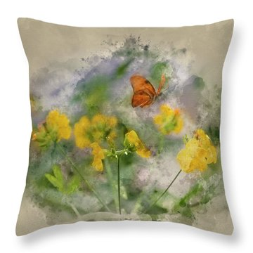 Watercolor Painting Of Julia Butterfly Lepidoptra Nymphalidae Bu Throw Pillow