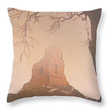 Throw Pillow featuring the painting Watercolor Painting Of Mayan Temple- Tikal, Guatemala by Ryan Fox