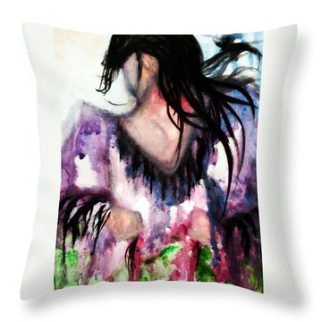 Watercolor Painting Of Northern Shawl By Ayasha Loya Throw Pillow by Ayasha Loya