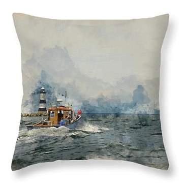 Watercolor Painting Of Pleasure Cruise Boat On Menai Straits In Anglesey Wales. Throw Pillow