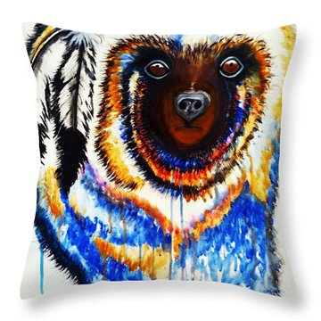 Watercolor Painting Of Spirit Of The Bear By Ayasha Loya Throw Pillow