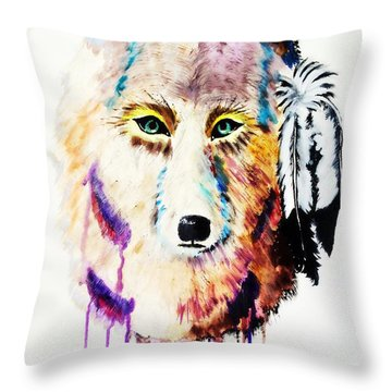Watercolor Painting Of Spirit Of The Wolf By Ayasha Loya Throw Pillow
