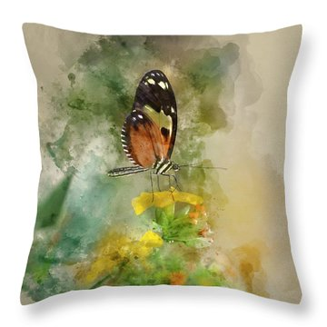 Watercolor Painting Of Stunning Butterfly Insect On Vibrant Yell Throw Pillow