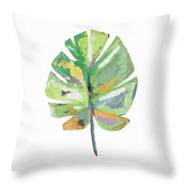Throw Pillow featuring the mixed media Watercolor Palm Leaf- Art By Linda Woods by Linda Woods