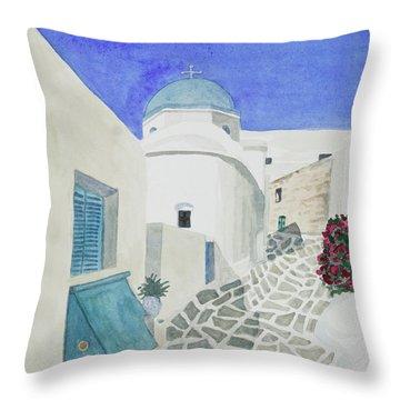 Watercolor - Paros Church And Street Scene Throw Pillow