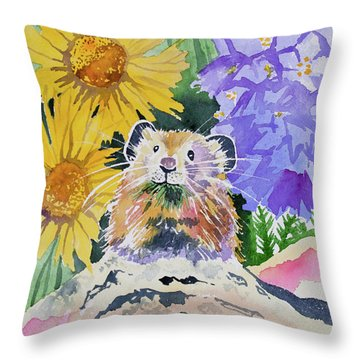 Watercolor - Pika With Wildflowers Throw Pillow