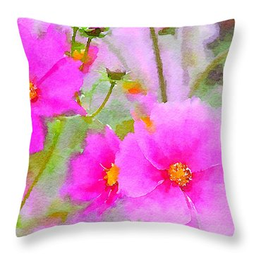 Throw Pillow featuring the painting Watercolor Pink Cosmos by Bonnie Bruno