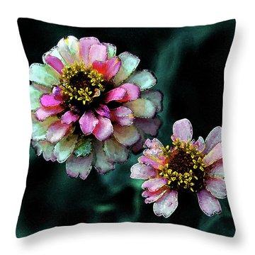 Watercolor Pink Zinnias And Smoke 2227 W_2 Throw Pillow