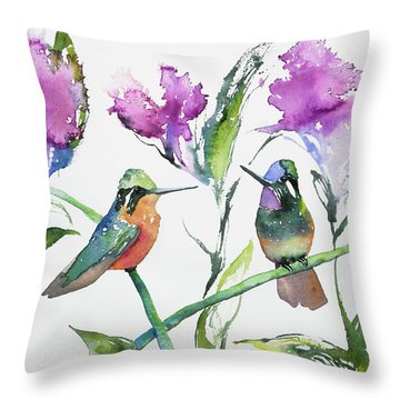 Watercolor - Purple-throated Mountain Gems And Flowers Throw Pillow