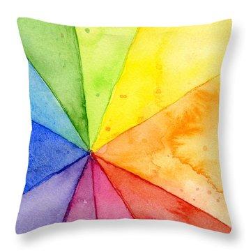 Watercolor Rainbow Beachball Pattern Throw Pillow