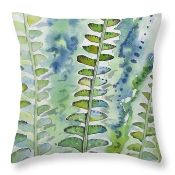 Watercolor - Rainforest Fern Impressions Throw Pillow
