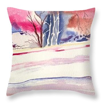 Watercolor River Throw Pillow