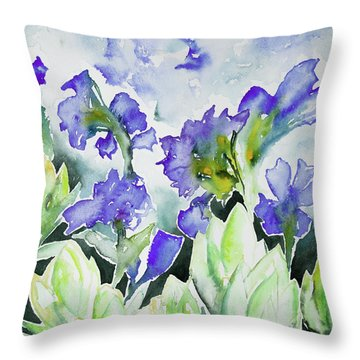 Watercolor - Rocky Mountain Wildflowers Throw Pillow