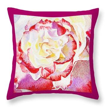 Watercolor Rose Close Up  Throw Pillow