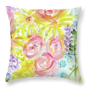 Watercolor Rose Garden- Art By Linda Woods Throw Pillow