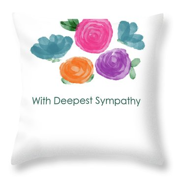 Watercolor Rose Sympathy Card- Art By Linda Woods Throw Pillow