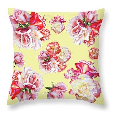 Throw Pillow featuring the painting Watercolor Roses Golden Dance by Irina Sztukowski