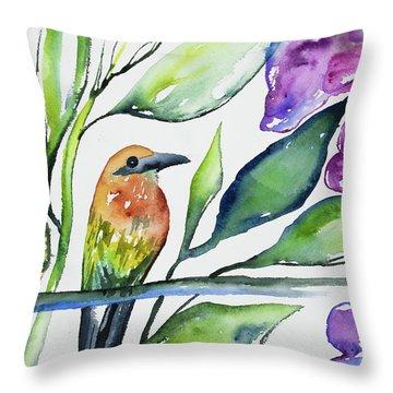 Watercolor - Rufous Motmot Throw Pillow