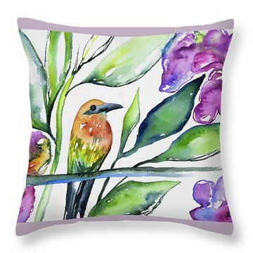 Throw Pillow featuring the painting Watercolor - Rufous Motmot by Cascade Colors