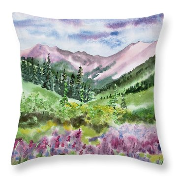 Throw Pillow featuring the painting Watercolor - San Juans Mountain Landscape by Cascade Colors