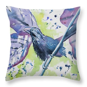Watercolor - Smooth-billed Ani Throw Pillow