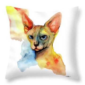 Watercolor Sphynx 2 Throw Pillow