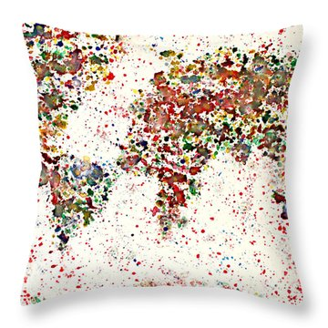 Watercolor Splashes World Map 2 Throw Pillow by Georgeta  Blanaru