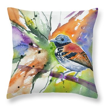 Watercolor - Spotted Antbird Throw Pillow