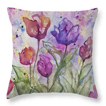 Watercolor - Spring Flowers Throw Pillow