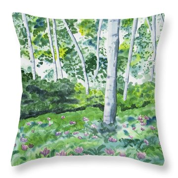 Watercolor - Spring Forest And Flowers Throw Pillow