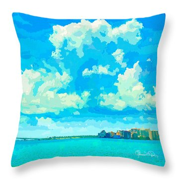 Watercolor Spring On Sarasota Bay Throw Pillow