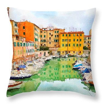 Watercolor Style Throw Pillow