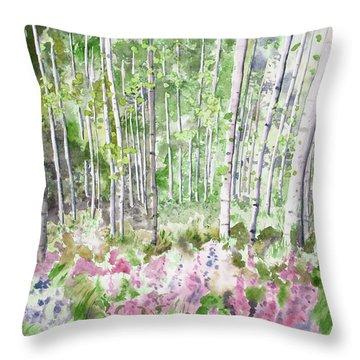Watercolor - Summer Aspen Glade Throw Pillow