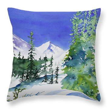 Watercolor - Sunny Winter Day In The Mountains Throw Pillow