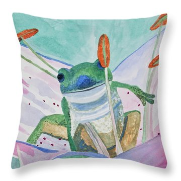 Watercolor - Tree Frog Throw Pillow