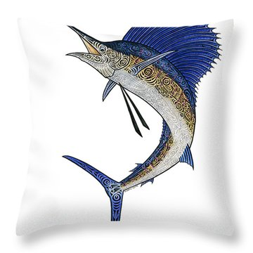 Watercolor Tribal Sailfish Throw Pillow by Carol Lynne