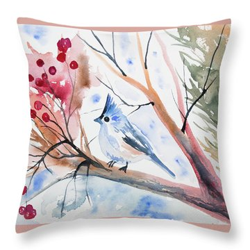 Watercolor - Tufted Titmouse With Winter Berries Throw Pillow