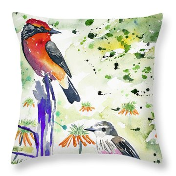 Watercolor - Vermilion Flycatcher Pair In Quito Throw Pillow